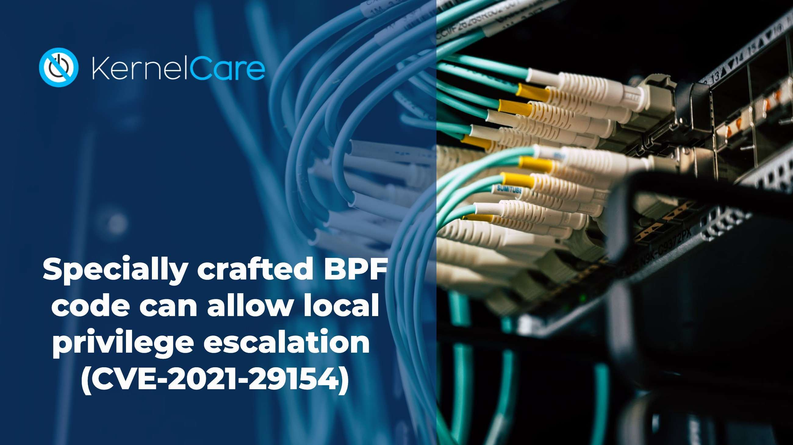 "Another vulnerability targeting the BPF subsystem has been disclosed publicly in the past few days (CVE-2021-29154). It allows users on a system running non-default configuration of the BPF subsystem to run specially crafted code as a BPF filter and run arbitrary executable code in the kernel context.   According to vendors, it affects all distributions running kernels up to version 5.11.12. Distribution vendors are starting to deliver patches through their update mechanisms, and KernelCare is also finalizing patches for it's rebootless patching process to address this issue.  Because of the nature of the BPF functionality, which is to allow user code to interact with network packet processing within the kernel, there is a very big potential for attack given any weakness in the implementation. This specific functionality has been addressed recently in the specter mitigation code bug discussed here.  To be vulnerable, a system would have to be configured to allow BPF JIT compilation (for example, by setting ""net.core.bpf_jit_enable = 1""). This is often the case in situations where regular users are doing work related to sockets' manipulation or in seccomp (secure computing mode) environments where permissions are granted more granularly than normal.  The actual vulnerable code resides in arch/x86/net/bpf_jit_comp.c and arch/x86/net/bpf_jit_comp32.c in the kernel source code tree. The flaw comes from the way branch displacement happens when the user code is compiled, by making wrong assumptions regarding the address of code during optimization.  Proper exploitation of this vulnerability could even lead to container or chroots' escape, since the kernel is shared between them, and running code in the kernel context permits it to escape containerization limits.  As a stop-gap procedure, you can quickly disable BPF JIT by running:  # echo 0 > /proc/sys/net/core/bpf_jit_enable   Which will persist until reversed or a system reboot. A more permanent removal can be achieved by using your distribution's syscfg equivalent utility to set ""net.core.bpf_jit_enable=0"" at boot time. Of course, this type of solution solves the problem by disabling the functionality, which in itself is self-defeating. If you actually had your system configured to use BPF JIT, in all likelihood your use case needed that setting explicitly enabled, and you should rely instead on proper kernel patching, either through your distribution vendor's patches or through KernelCare's rebootless process."