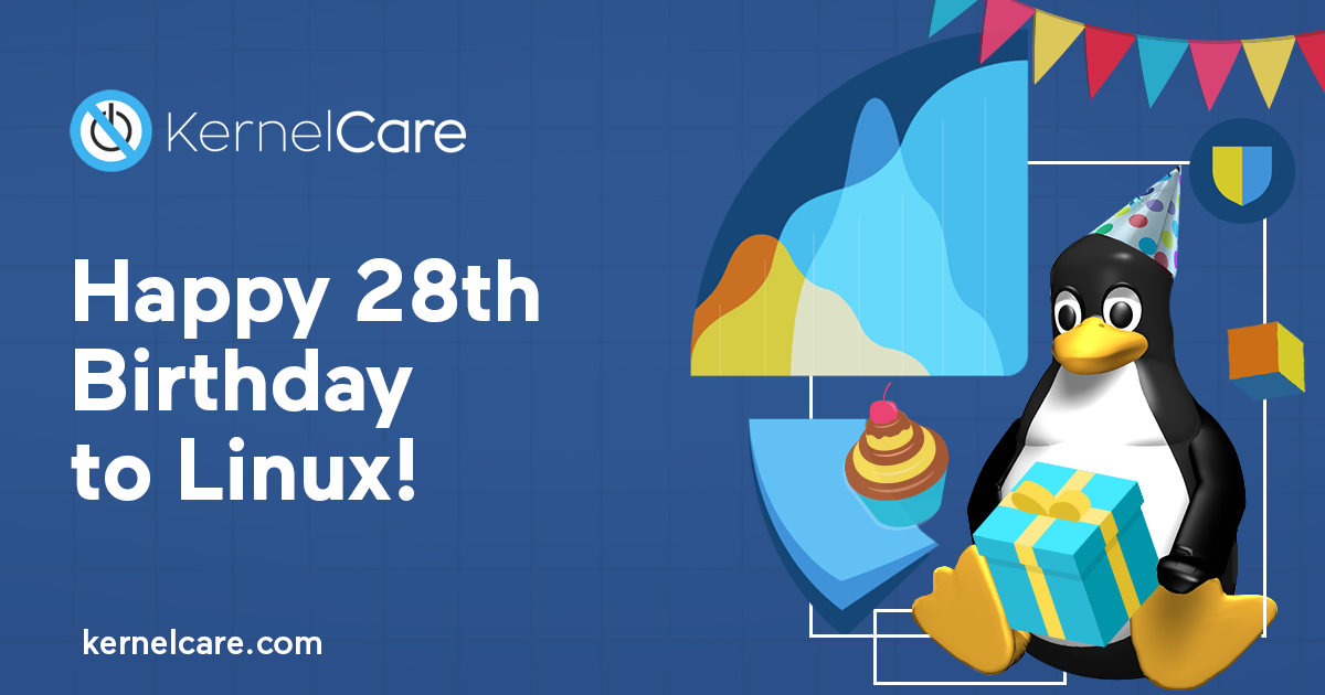 Happy 28th Birthday Linux, kernelcare logo, linux penguin with the present