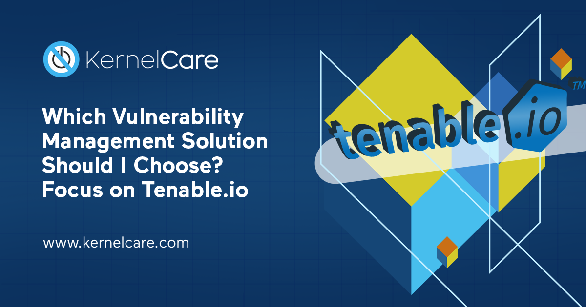 Which Vulnerability Management Solution Should I Choose? Focus on Tenable.io title, tenable io logo, kernelcare logo