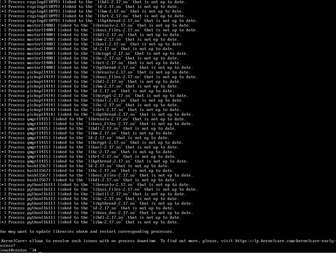 uchecker example running on a CentOS 7 fresh install, for demo purposes only. End of the list..